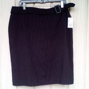 Worthington Black Stripe Skirt, Size 14, NWT